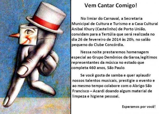 Tertúlia de fevereiro será dia 26, abrindo a programação do Castelinho 14.02.2014