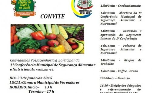 1ª Conferência de Segurança Alimentar e Nutricional de General Carneiro será terça-feira