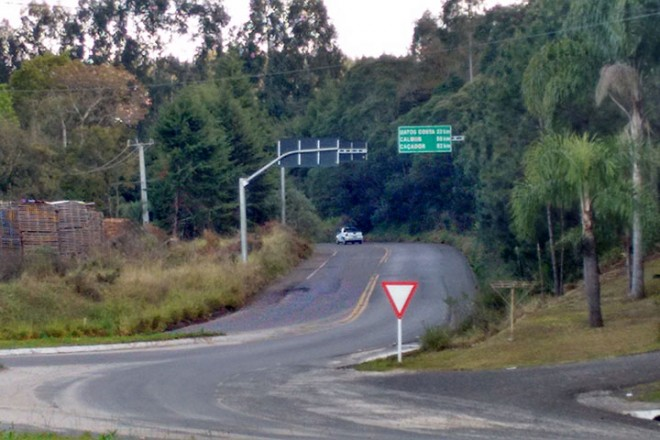 Divida sa SC 135 com a BR 280, em Porto União Foto: Marciel Borges/ Rádio Colmeia