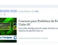 Não há previsão de concurso público para este ano em Porto União