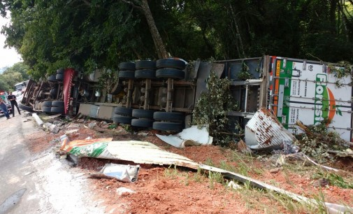Caminhoneiro morre após veículo sair de pista na BR 153