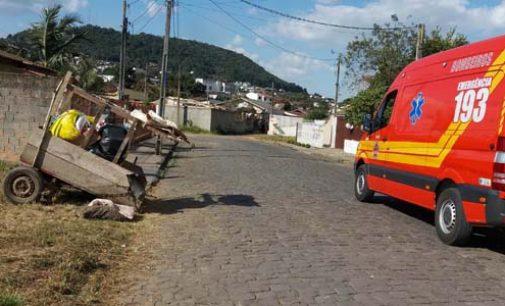 Mãe e filho se envolvem em acidente com carroça