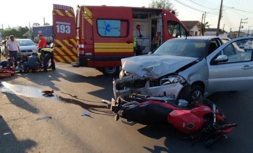 Motociclista fica ferido em acidente em Porto União