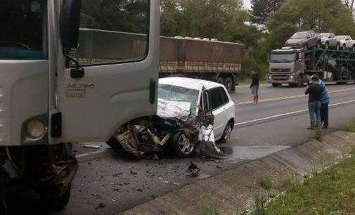Motorista fica ferido em acidente na BR 153