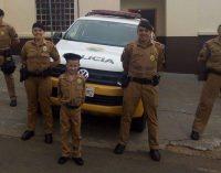 Menino tem o sonho de ser policial militar em Bituruna