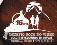 Dia 04 acontece o 4° Desafio Rota do Vinho em Bituruna