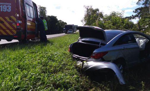 Casal fica ferido em acidente na BR 280 em Porto União