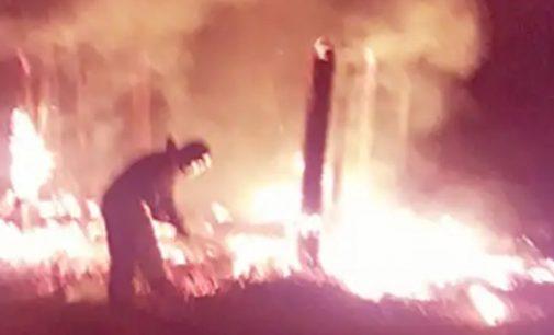 Barracão do CTG de General Carneiro é destruído por incêndio