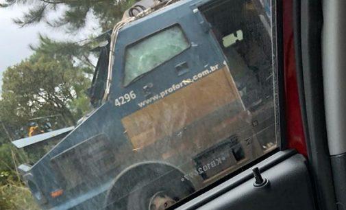 Bandidos explodem carro forte na PR 170 em Bituruna