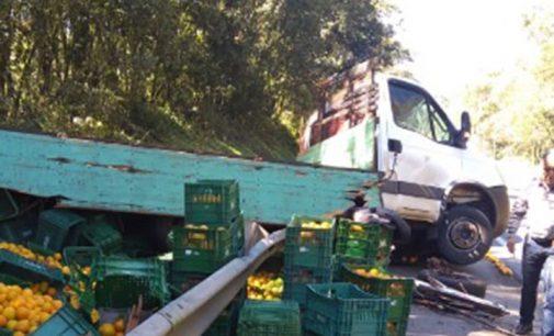 Caminhão do Rio Grande do Sul sai de pista na BR 476