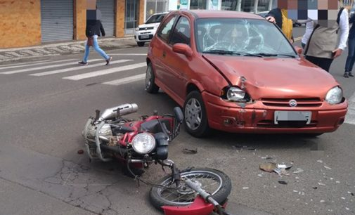 Acidente carro e moto, o segundo do dia nas cidades gêmeas