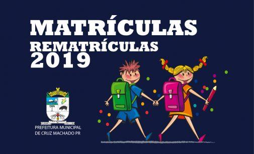 Matrículas e rematrículas para o ano letivo de 2019, em Cruz Machado