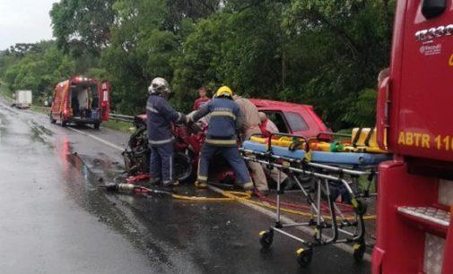 Motorista fica ferido em acidente na BR 476 em União da Vitória