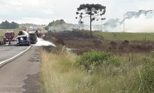 Incêndio florestal causa acidente na BR 153
