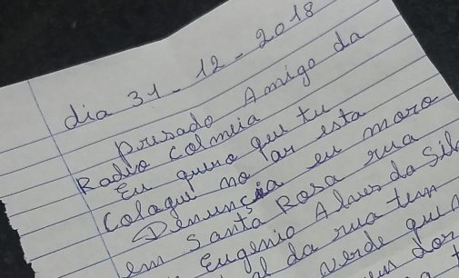 Polícia Militar recebe carta com denúncia de perturbação