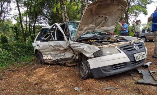 Mulher fica ferida em acidente na BR 476 em Paula Freitas