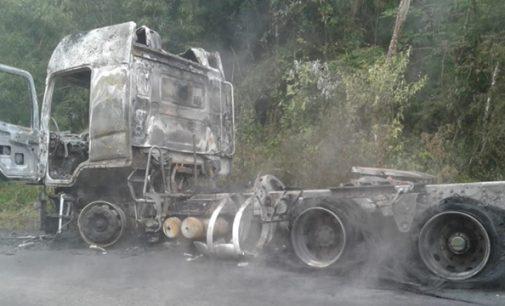 Caminhão fica destruído em incêndio na PR 447