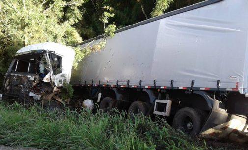 Acidente na BR 153 envolve dois caminhões e um automóvel