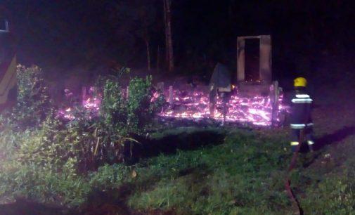Incêndio destrói casa na região do Maratá em Porto União