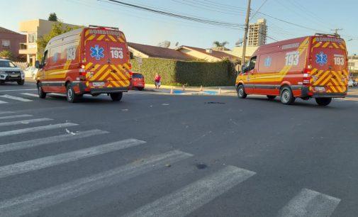 Casal fica ferido em acidente de trânsito no centro de Porto União