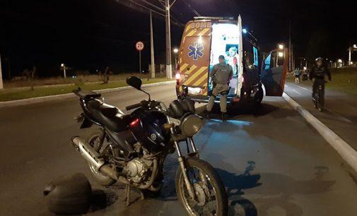 Homem fica ferido, após queda de moto em Porto União