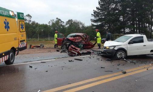 Veículo de Porto União, se envolve em acidente na BR 116
