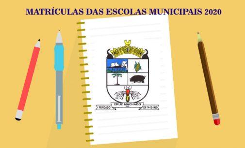 Matrículas nas Escolas Municipais de Cruz Machado iniciam no dia 21