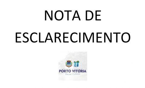 Prefeitura de Porto Vitória divulga nota sobre veículo da APSUS