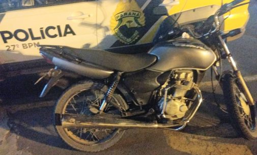Polícia Militar recupera moto furtada na BR 153