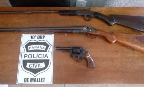 Polícia Civil de Mallet faz apreensão de armas