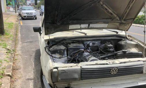 Principio de incêndio em veículo no centro de União da Vitória