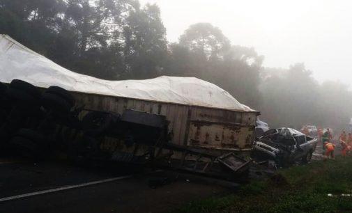 Condutor com veículo de Porto União morre em acidente na BR 277
