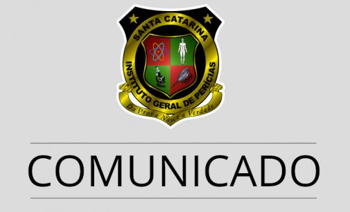 IGP de Santa Catarina divulga nota sobre suspensão de atendimentos