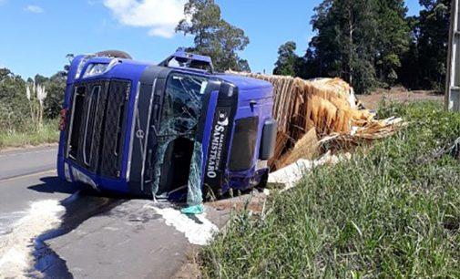 Trânsito: caminhão tomba na SC 135 em Porto União