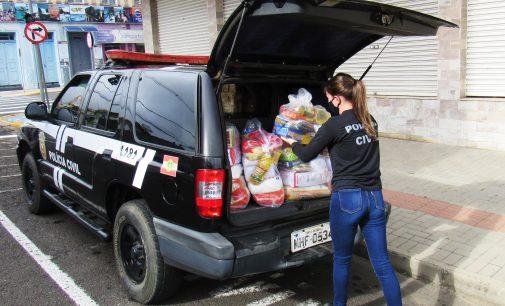Policia Civil de PU realiza doação de cestas básicas as famílias carentes do município