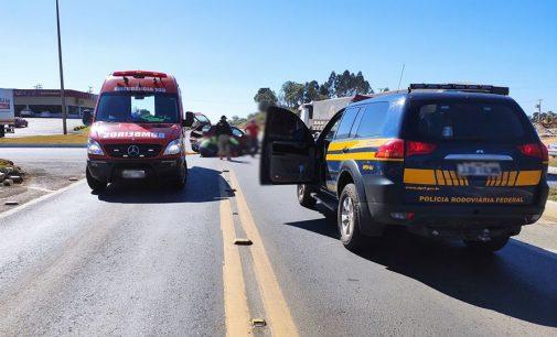 Colisão entre carro e caminhão na BR 153 deixa uma pessoa gravemente ferida