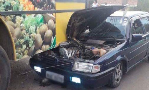 União da Vitória: uma pessoa fica ferida em acidente envolvendo carro e ônibus