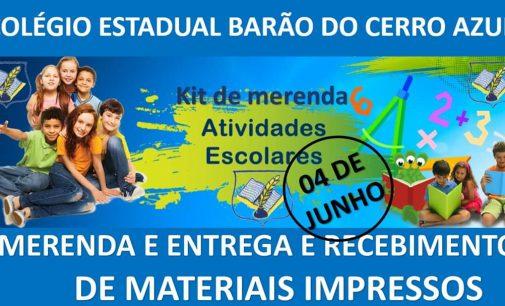 Cruz Machado: Colégio Barão do Cerro Azul fará entrega do Kit merenda e das atividades impressas amanhã,04